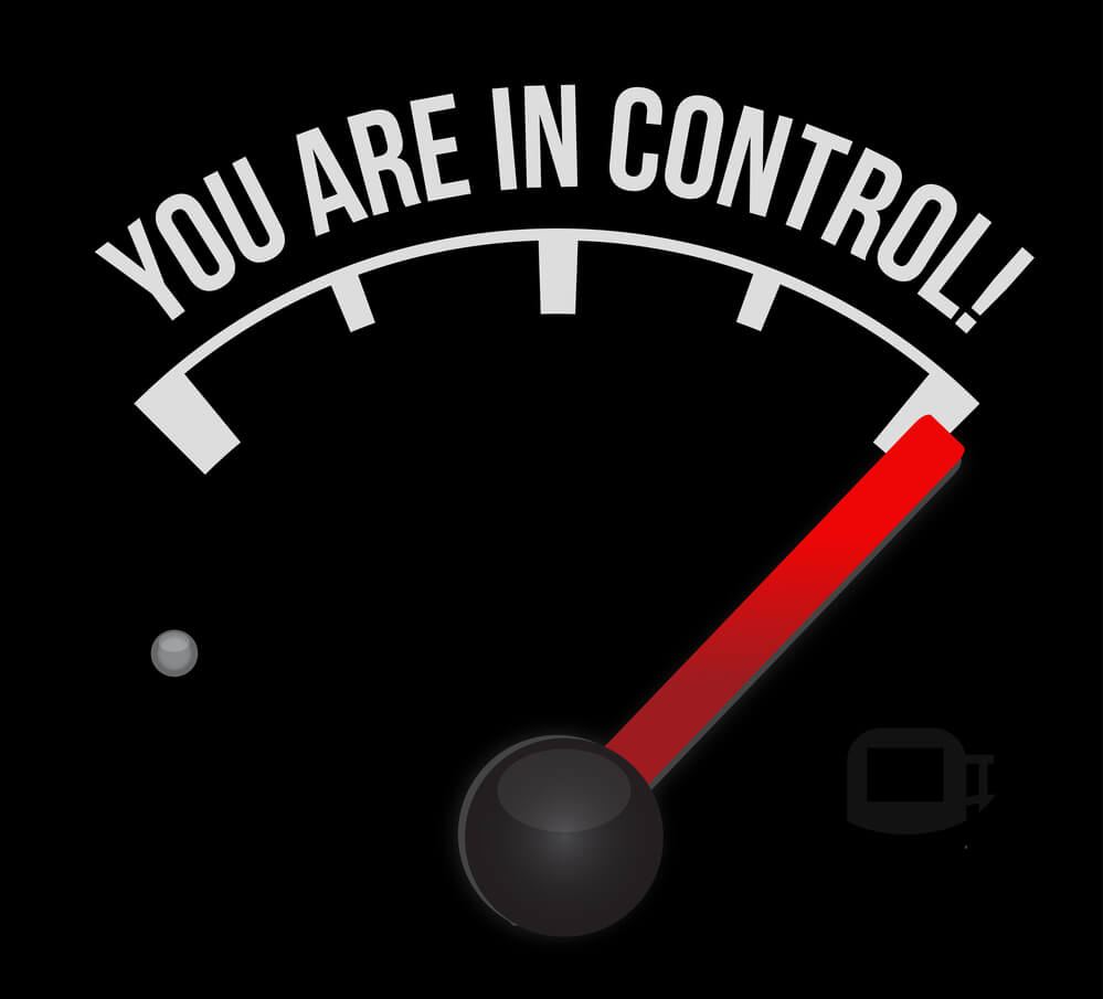 image of an auto gauge showing full and the words you are in control above it